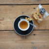 espresso with vicafe mini-cantucci on wooden table