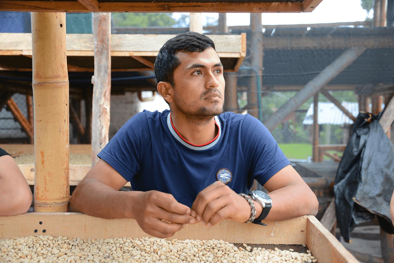 colombian coffee farmer checking his coffee