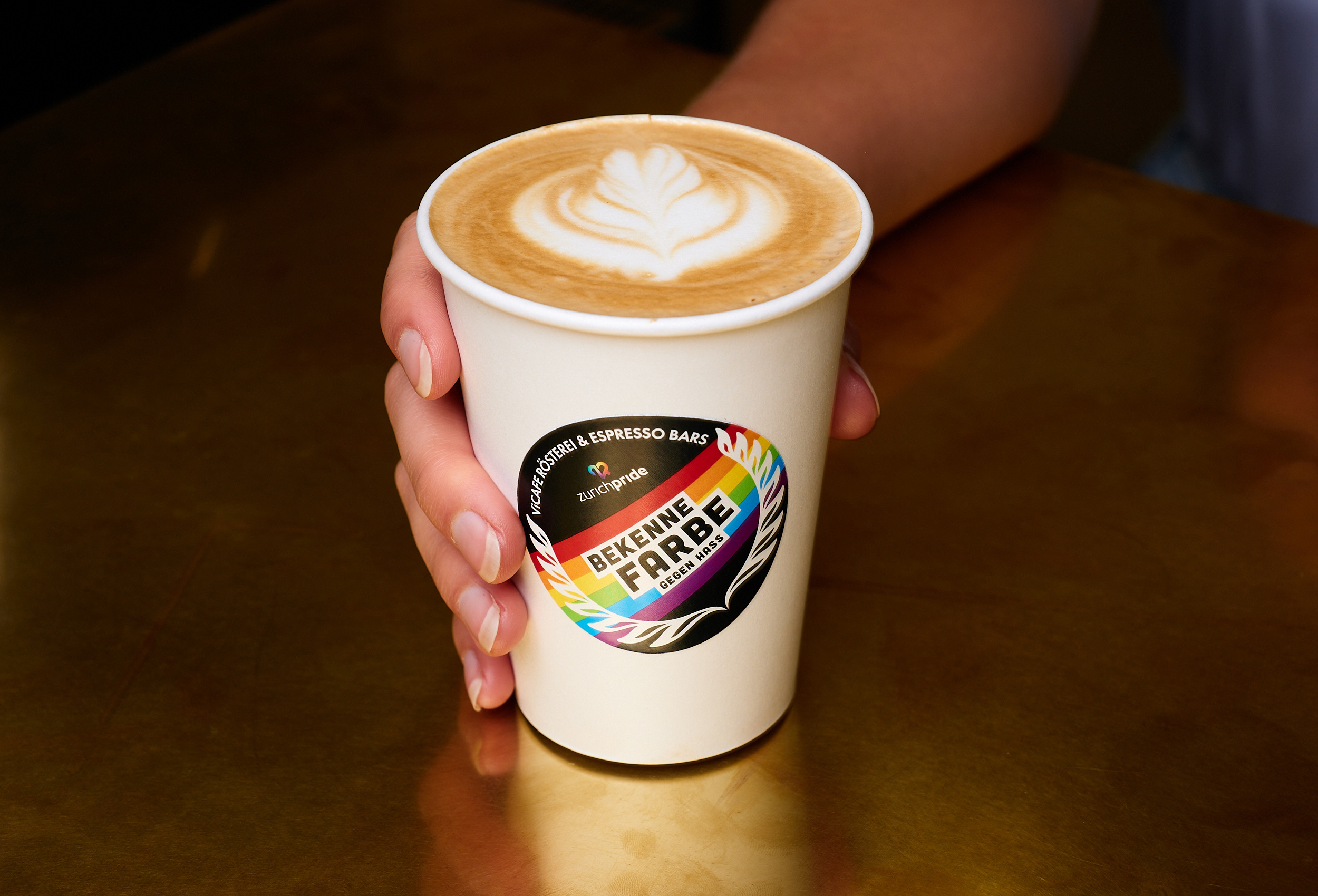 vicafe flat white coffee with pride sticker