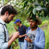 Oscar and Ramon looking at the coffee quality