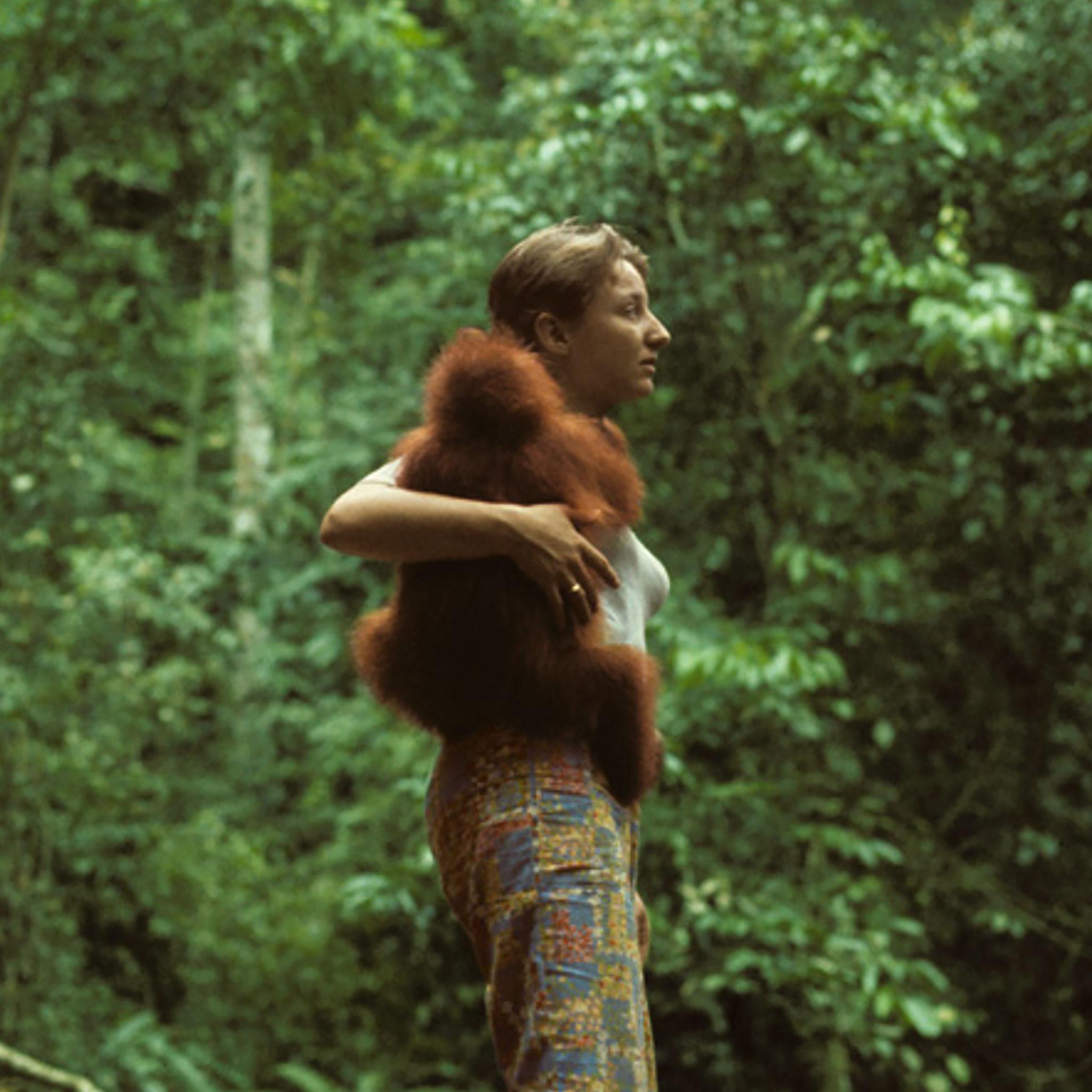 Regina Frey with baby orang utan